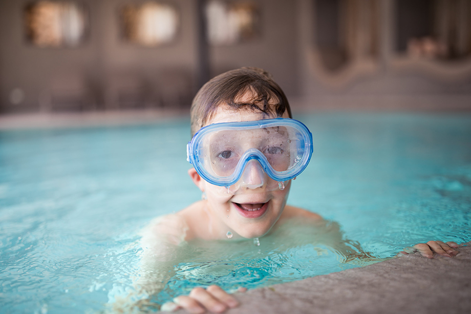 Boy with diving mask in our indoor pool